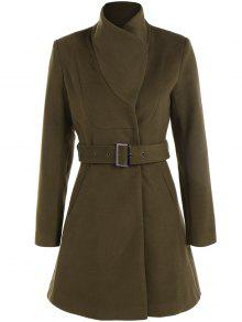 Belted High Neck Skater Coat - Army Green Xs