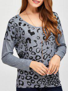 Scoop Collar Printed Tee - Gray M