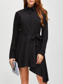 Asymmetric Long Sleeve Button Up Shirt Dress - Black L