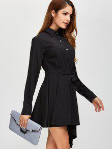 Asymmetric Long Sleeve Button Up Shirt Dress BLACK: Long Sleeve ...