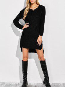 فستان محبوك عالية انخفاض - أسود