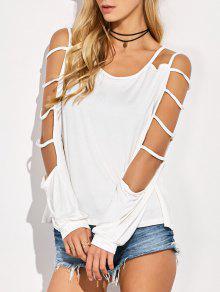 Manga Camiseta Cuello Del Recorte De La Camiseta - Blanco 2xl