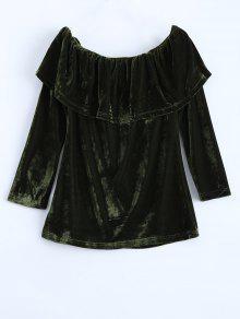Velvet Off Shoulder Ruffles T-Shirt - Green Xl