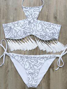 Buy Tassels Halter Printed String Bikini - WHITE M