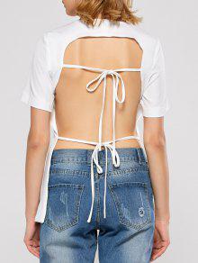 Manches Courtes Dos Ouvert T-shirt - Blanc L