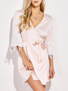 Lace Spliced Cosy Kimono - Pinkbeige S