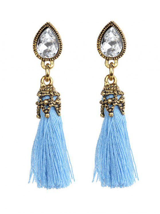 shop Rhinestone Tassel Water Drop Earrings - BLUE