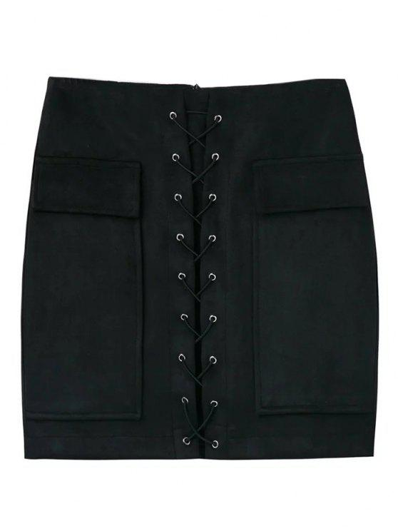 best Lace Up Faux Suede Mini Skirt - BLACK M