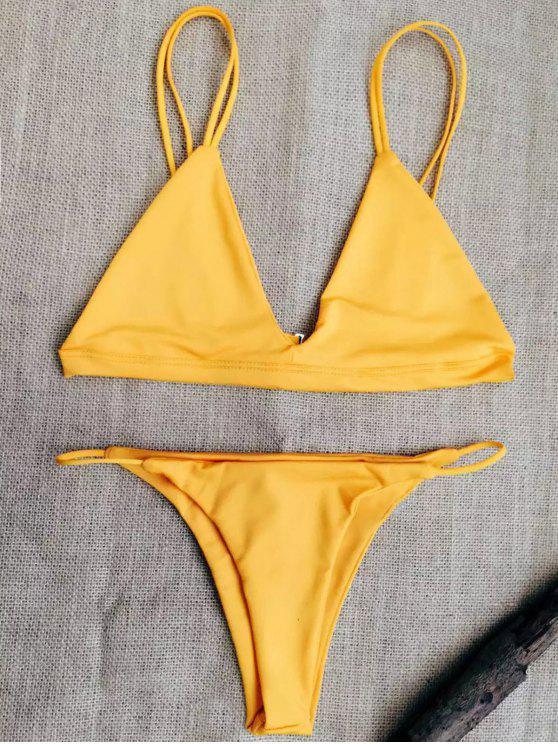 women's Low Waisted Spaghetti Straps Bikini Swimwear - SWEET ORANGE XL