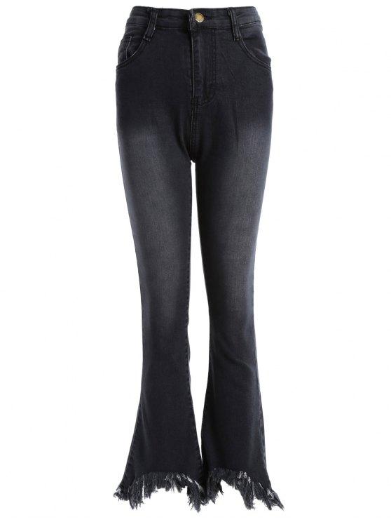 Pantalones Mezclilla Dobladillo Deshilachados Corte de Bota - Negro S