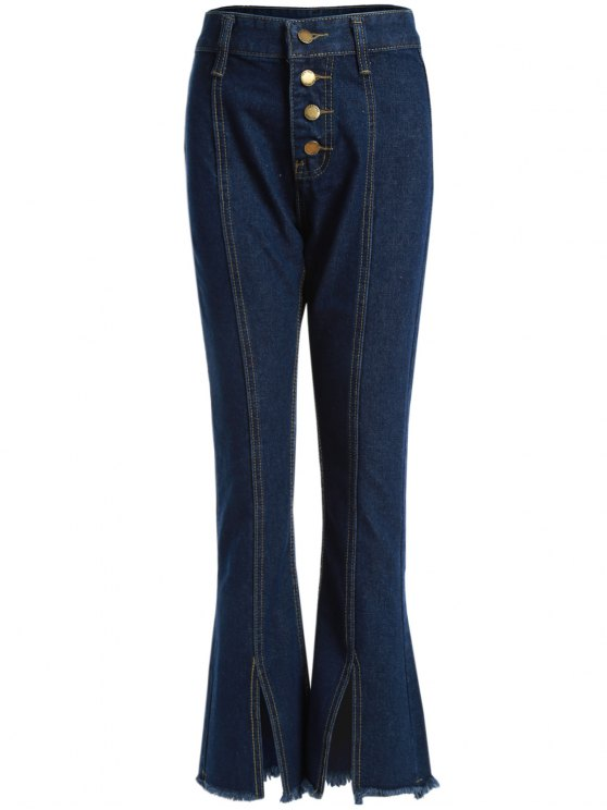 جينز مهترئ الحاشية بوت كات - ازرق غامق 5XL