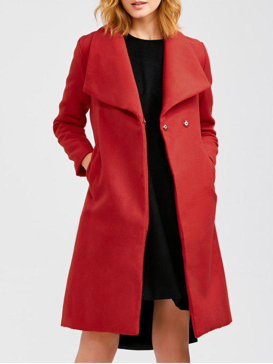 2018 manteau long avec en laine avec ceinture en rouge taille l zaful. Black Bedroom Furniture Sets. Home Design Ideas