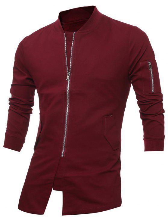 Cappotto Con Cerniera E Colletto Dritto Aderente - Vino rosso XL