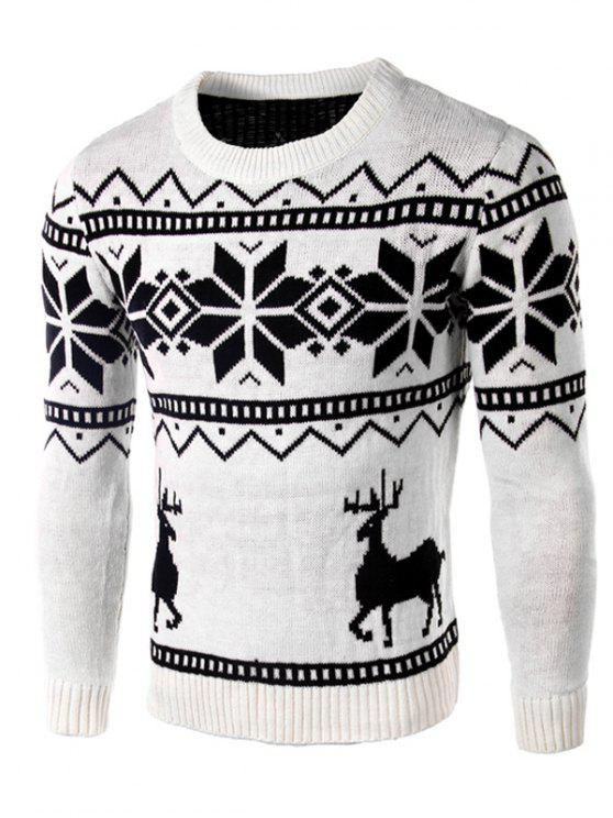 Suéter Manga Larga Estampado Renos y Copos de Nieve - Blanco L