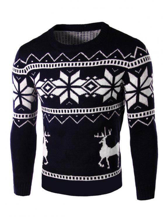 Deer und Schneeflocke-Muster lange Hülsen-Strickjacke - Kadettenblau XL
