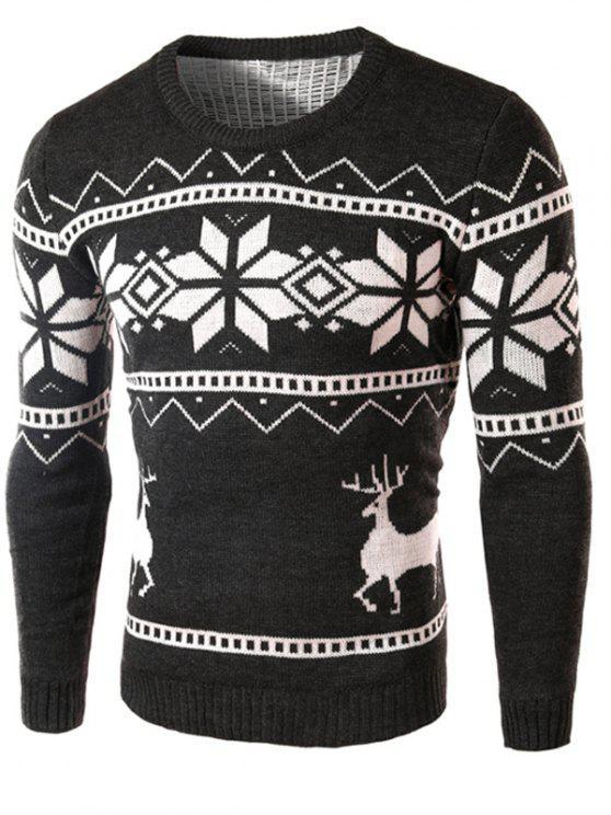 Suéter Manga Larga Estampado Renos y Copos de Nieve - Gris Oscuro XL
