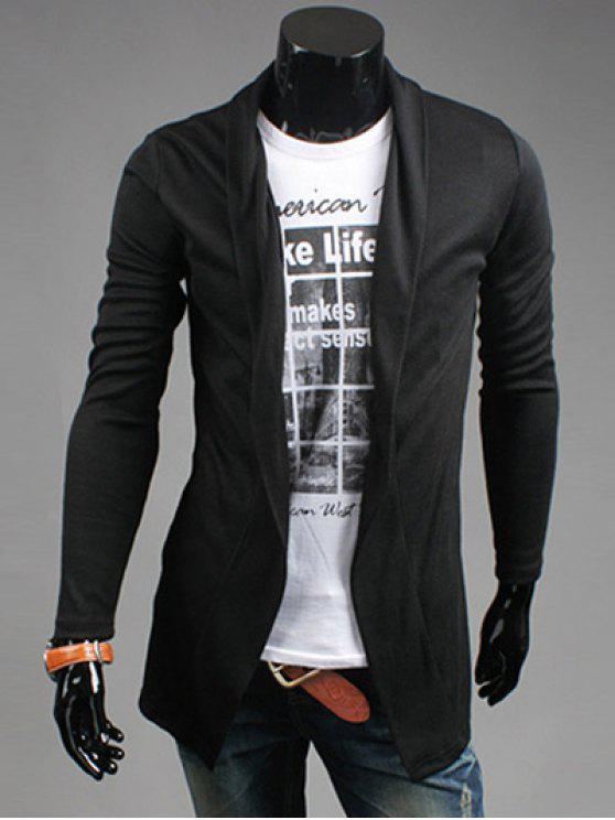latest Slim Fit Shawl Collar Open Front Cardigan - BLACK M