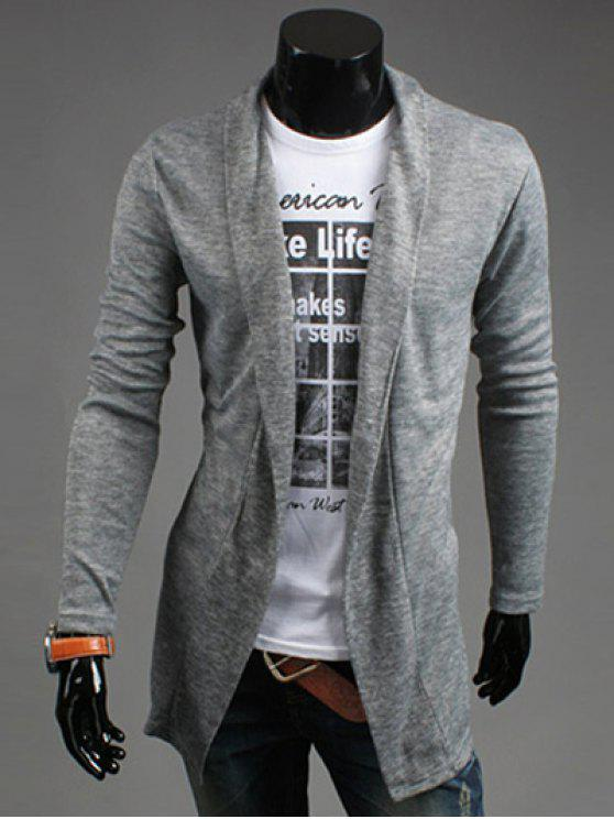 latest Slim Fit Shawl Collar Open Front Cardigan - LIGHT GRAY M