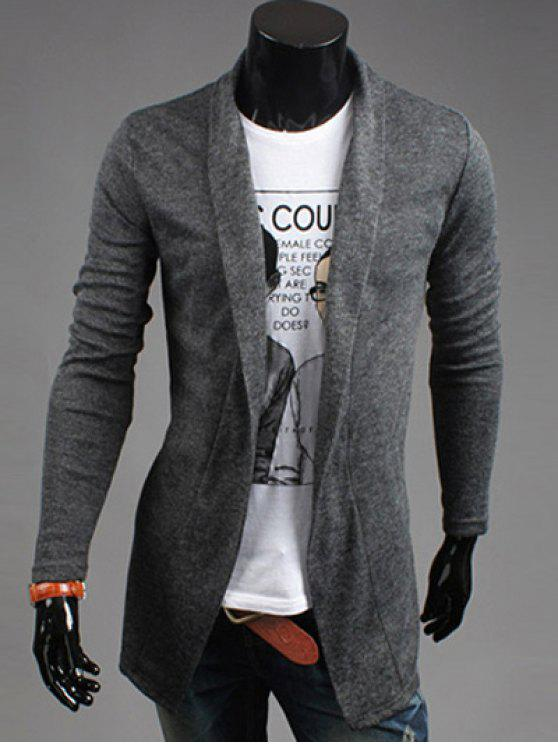 sale Slim Fit Shawl Collar Open Front Cardigan - DEEP GRAY L