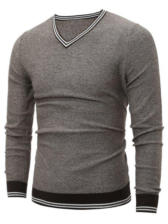 fashion V Neck Striped Pullover Cricket Sweater - LIGHT GRAY L
