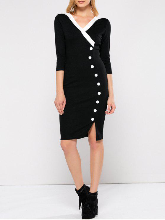 فستان انقسام غارق الرقبة - أسود 2XL