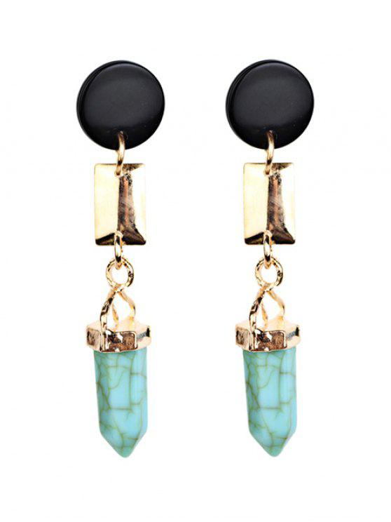 outfit Geometric Artifical Turquoise Dangle Earrings - LIGHT GREEN