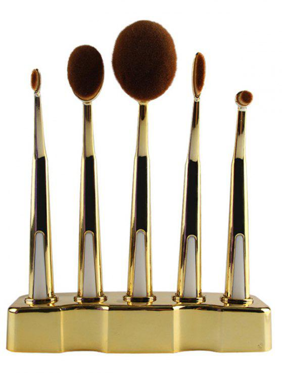 women 5 Pcs Nylon Oval Toothbrush Makeup Brushes Set with Brush Stand - GOLDEN