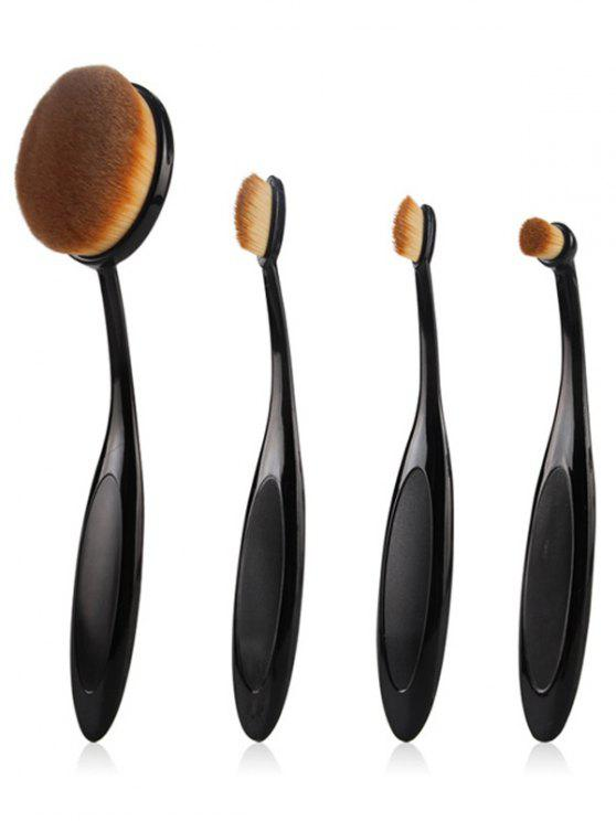 sale 4 Pcs Toothbrush Shape Makeup Brushes Set - BLACK