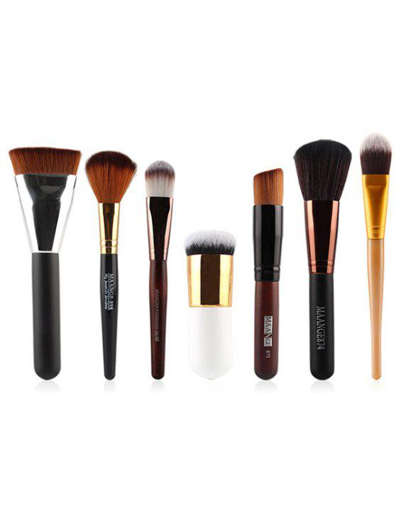 7 piezas de nylon cepillos del maquillaje de la cara Set - Negro
