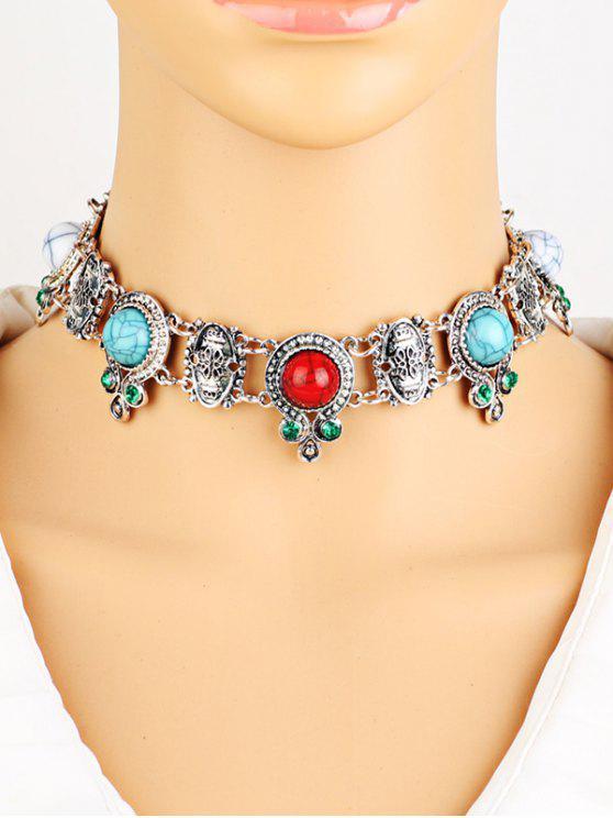 Rhinestone del collar de la turquesa de imitación - Plata