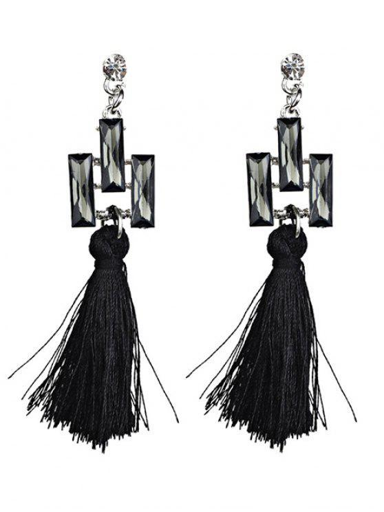 fashion Tassel Faux Crystal Dangle Earrings - BLACK