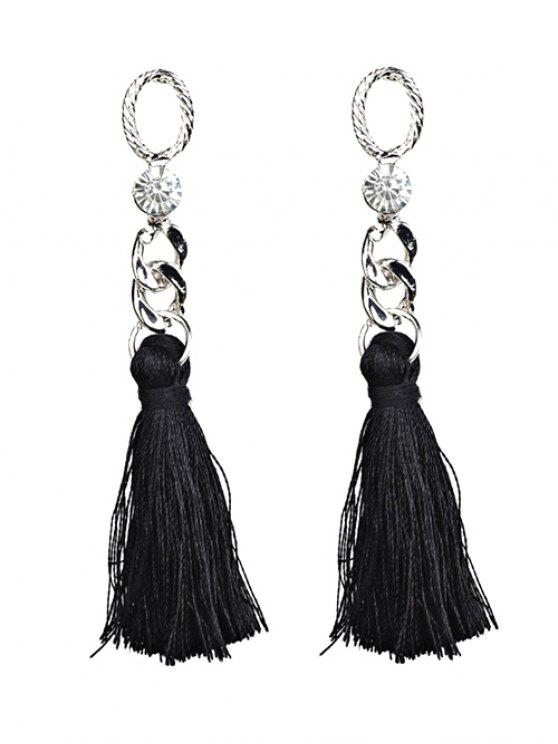 fancy Rhinestone Tassel Dangle Earrings - BLACK