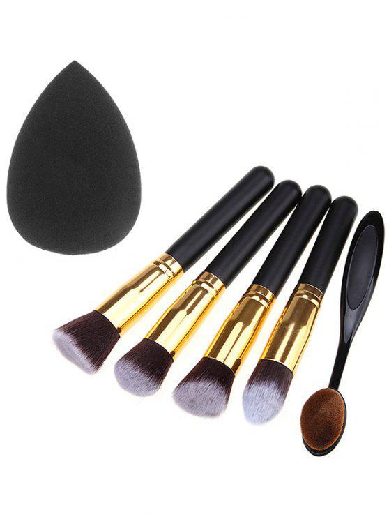Ensemble de pinceaux de maquillage 5 pièces et éponge de maquillage - Noir