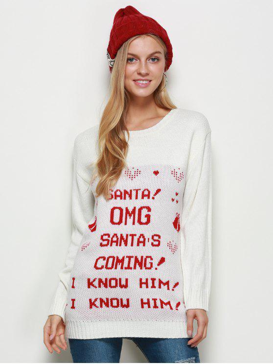 Pull à encolure dégagée Chandail de Noël - Blanc M