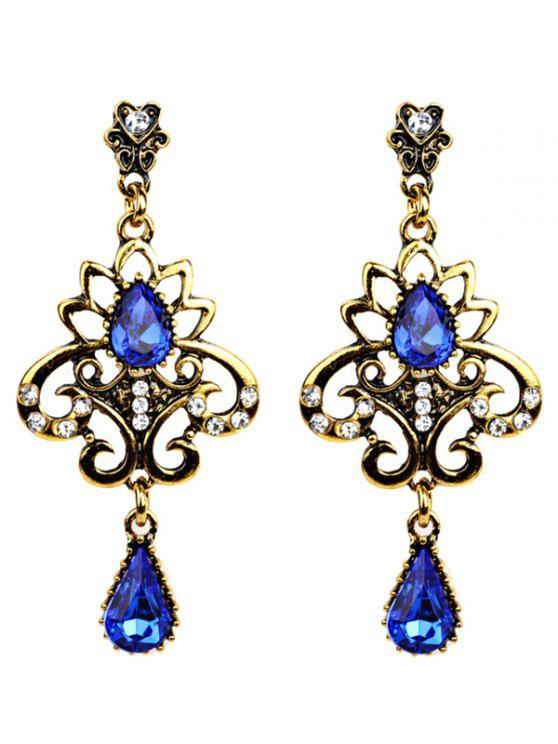 buy Water Drop Fake Gem Openwork Earrings - BLUE
