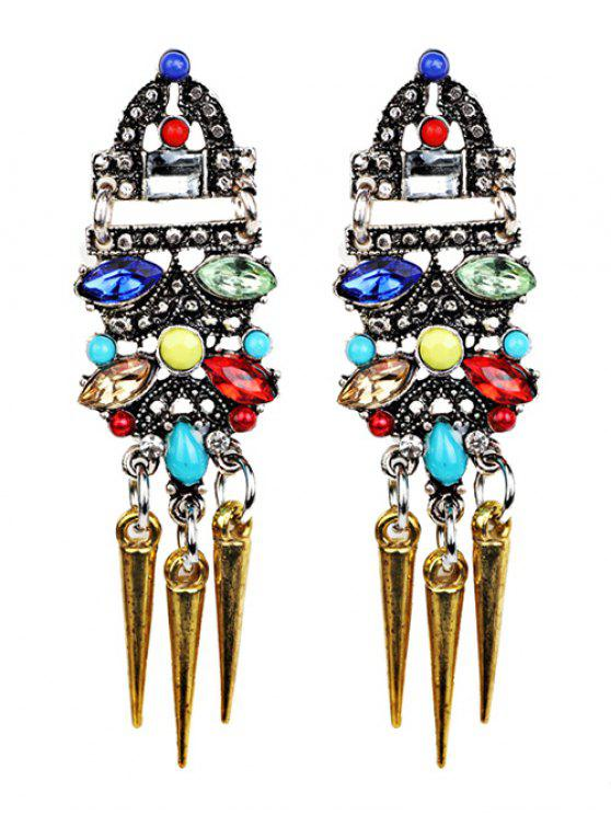 womens Faux Crystal Embellished Rivet Tassel Earrings - GOLDEN