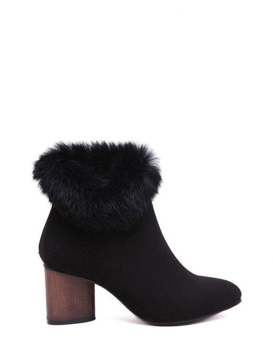 unique Zip Pointed Toe Faux Fur Ankle Boots - BLACK 38