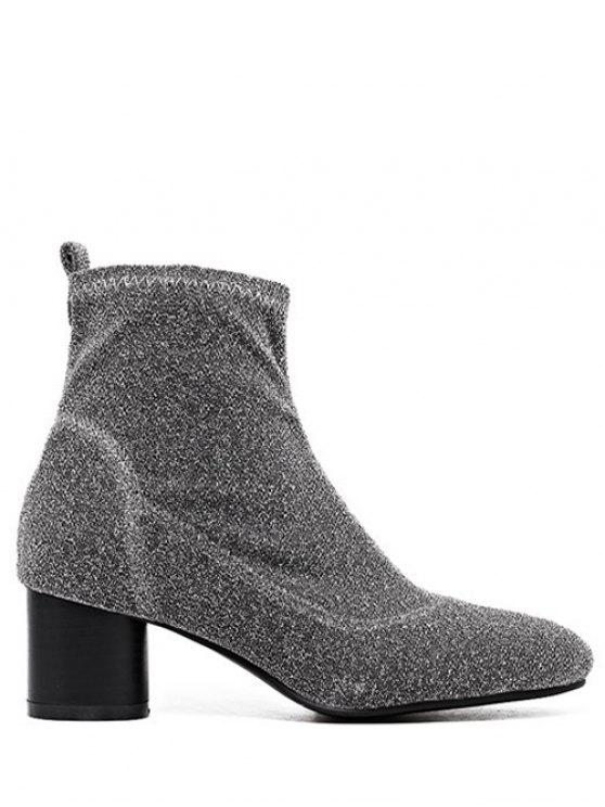 sale Round Toe Chunky Heel Glitter Ankle Boots - SILVER GRAY 39