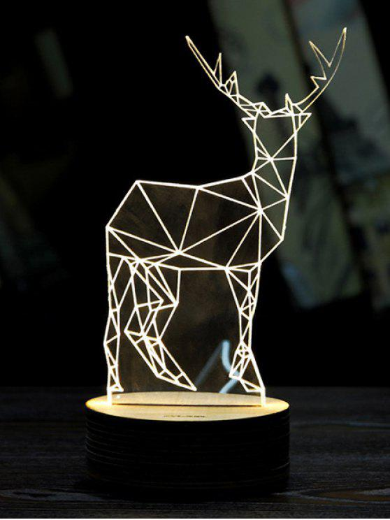 Luz de la noche Feliz Navidad ciervos 3D LED - Blanco
