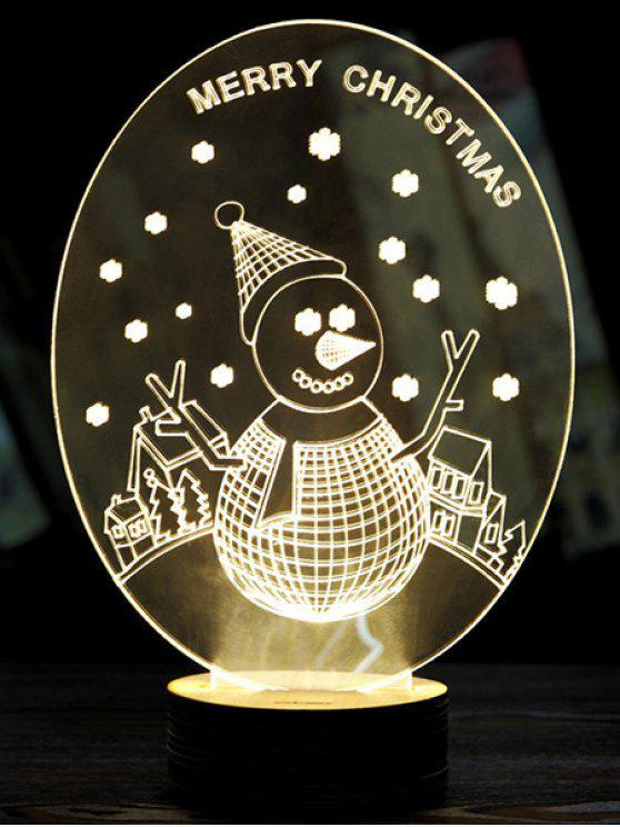 3D Christmas Snow LED Man Night Light - Blanc
