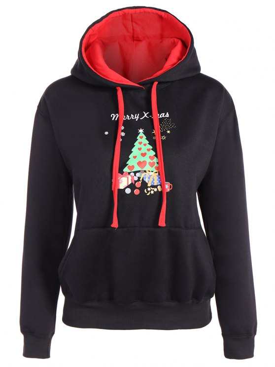 Sudadera con capucha del bolsillo delantero de la Feliz Navidad - Negro M
