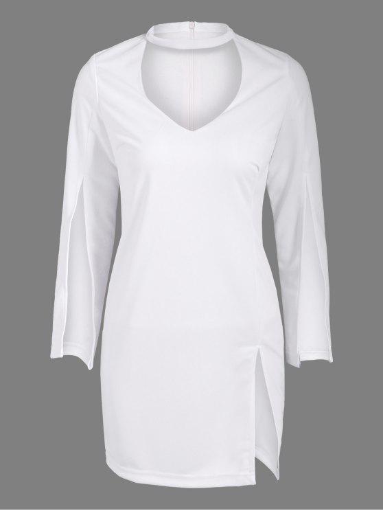 Furcal lado fotografica Vestido ajustado de Gargantilla - Blanco L
