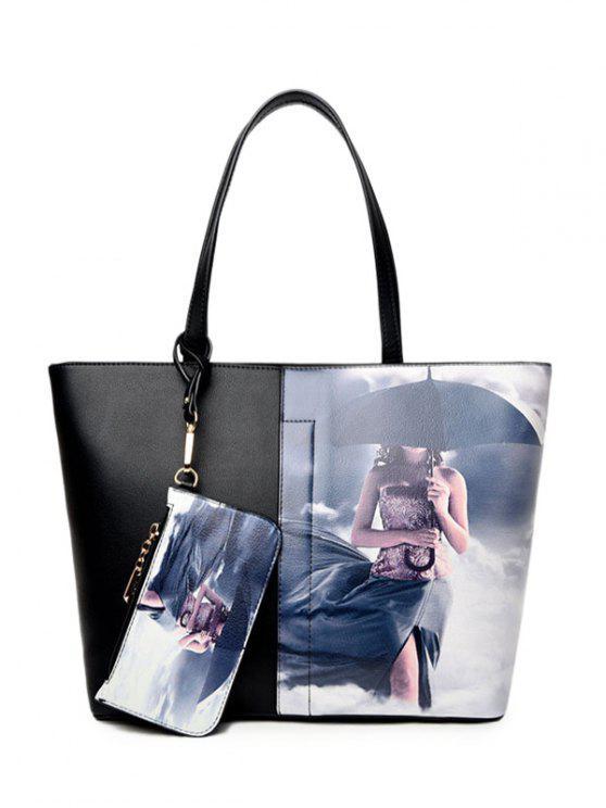 Bolsa de Ombro pintado com Wristlet pintada - Cinza