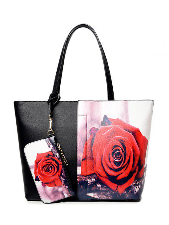 fancy Painted Shoulder Bag With Painted Wristlet - RED