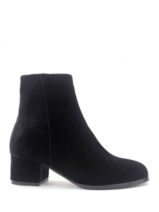 d148f1b9f12 32% OFF  2019 Round Toe Zip Chunky Heel Ankle Boots In BLACK