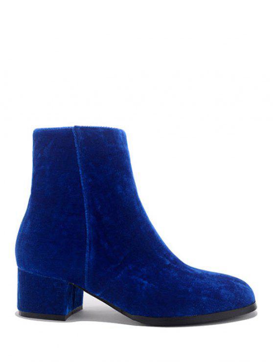 Dedo del pie redondo Zip Botas tacón grueso del tobillo - Azul 38