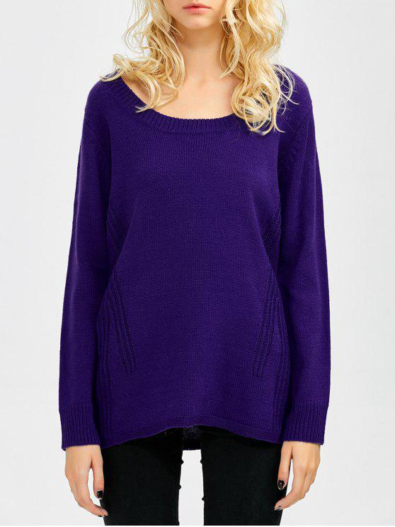 outfits Scoop Neck Oversized Sweater - VIOLET ONE SIZE