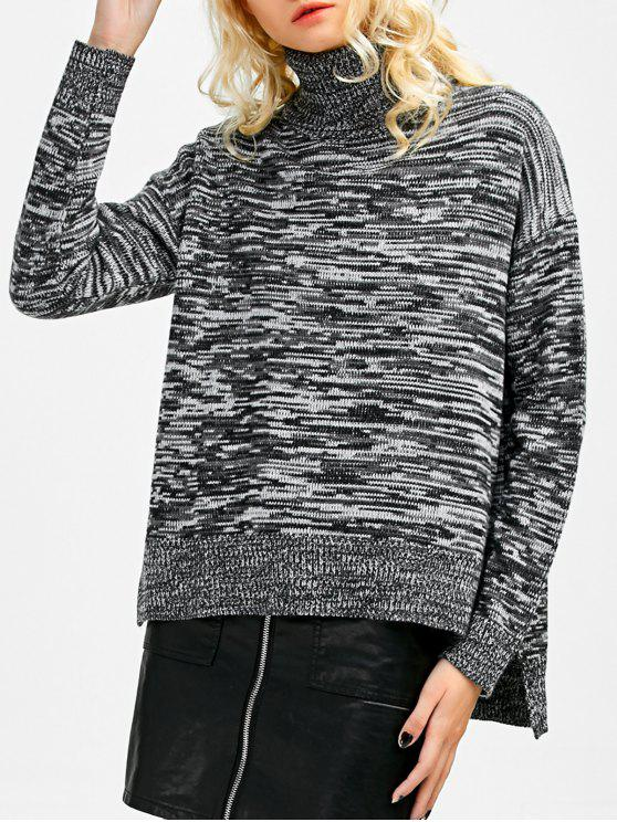 shop Boxy Heathered Turtleneck Sweater - GRAY ONE SIZE