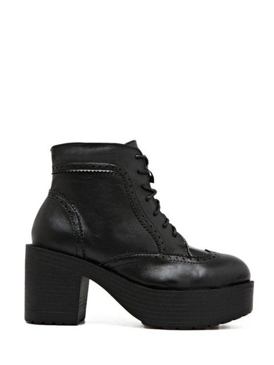 women's Engraving Plarform Chunky Heel Boots - BLACK 39