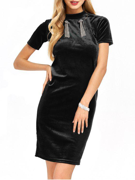 women Short Sleeve Velvet Dress - BLACK M
